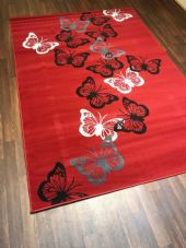 Modern Rugs Approx 6x4ft 120x170cm Woven Backed Red/Grey Butterfly rugs